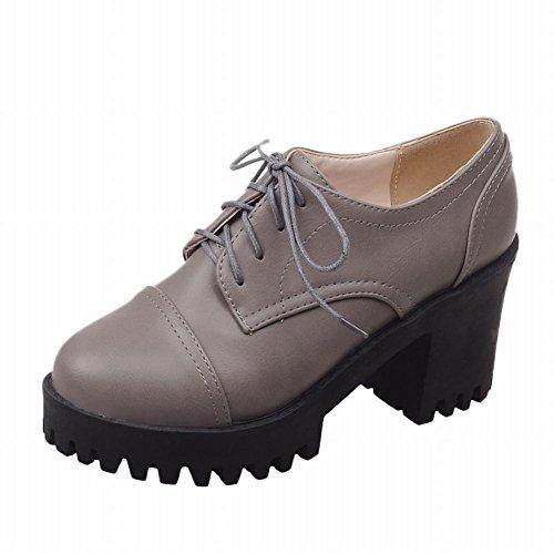 Le Donne Carolbar Allacciano Le Vecchie Scarpe Oxford In Chunky Con Tacco Alto E Piattaforma Moda Retrò Grigie