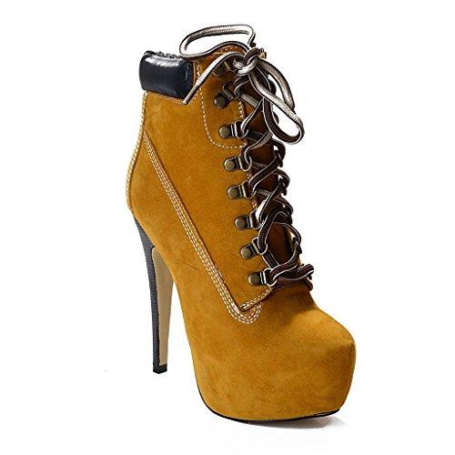 trabajo impermeable 39 40 YELLOW mujer alta Yellow Mostrar Botas altos Botas 8011FD otoño de invierno de botas para Cuero Tacones Plataforma de Z5wf1Hqw