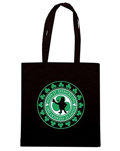 T-Shirtshock - Bolsa para la compra TIR0063 happy st patricks day dark tshirt Negro