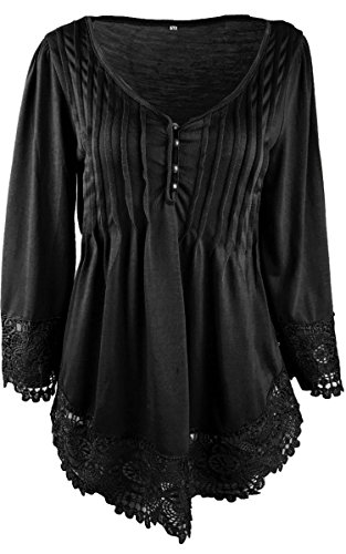 Angashion Women's Flare Sleeve Lace Splice Loose Thermal Henley Blouse T-shirt Tops,Black,US 4/Tag M