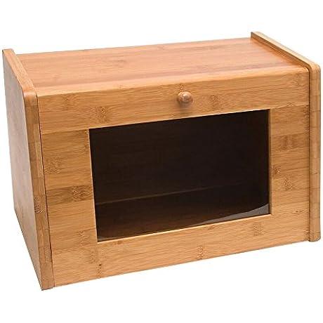Lipper International 8847 Bamboo Bread Box With Tempered Glass Window Tan