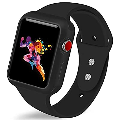 KEASDN for Apple Watch Band with Case 38mm 42mm, Silicone Sport iWatch Strap Band with Shock-proof Case for Apple Watch Series 3/2/1 Sport Nike+ and Edition from KEASDN