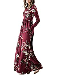 Womens Floral Print Long Sleeve Pockets Empire Waist Pleated Long Maxi Dress