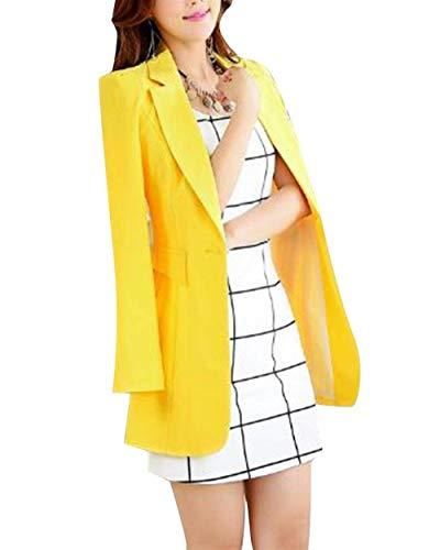 Bavero Bavero Lungo Moda Moda Manica Gelb di Moda Giacca Giubotto Slim Autunno Solidi Fit Button Blazer Colori Donna Casual Blazer Lunga B4awqvB