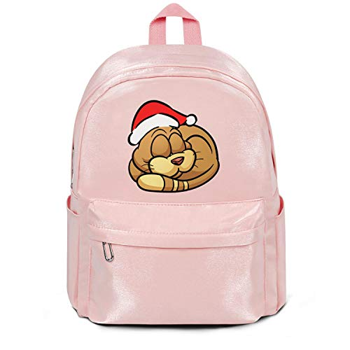 Sleeping Cat with Santa Hat Bag Purse Casual Nylon Water Resistant Travel Daypack Backpack Bag Purse