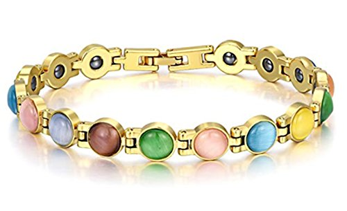 Antiquity Sian Art Jewelry 18K Gold Plated round cat's Eye/Turquoise Bracelets Magnetic Therapy 7.8