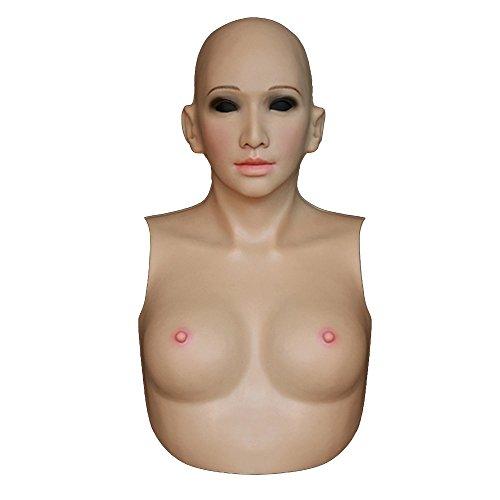 Silicone Female Overhead Hood mask With Breastplate Fake Boobs TD CD DRAG SFA4