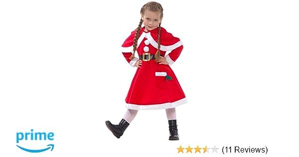 0bcc3a881 Amazon.com: Girls Mrs Claus Costume Santas Little Helper Kids Miss  Christmas Dress Outfit: Clothing