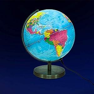 Globo Esfera iluminada Magellan Albion con Imagen de Mapa político e iluminación LED económica, diámetro 25 cm, Esfera con Base metálica en Color latón y meridiano 25 cm