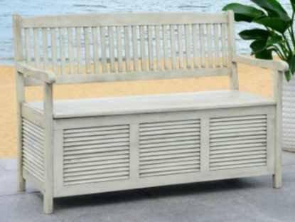 Garden Bench, Patio Storage - Acacia Wood, Distressed White