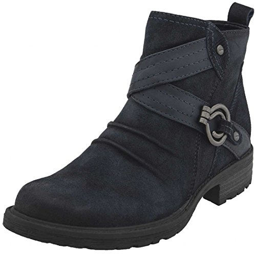 Navy Ankle Almond Boots Leather Toe Womens Laurel Combat Suede Earth qvT688