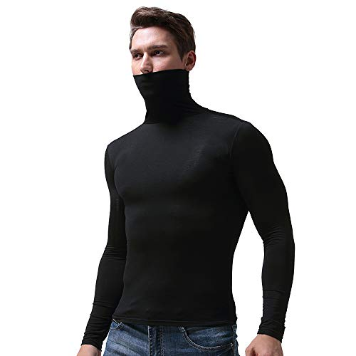 ic Top Turtleneck Sweater Slim Fit Soft Cotton Blend Pullover Thermal Sweater T-Shirt (Black, XXL) ()