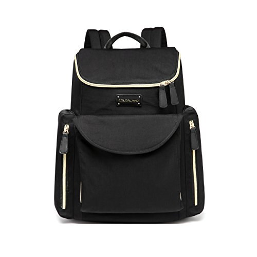 Designer-Diaper-Bag-Stylish-Baby-Backpack-for-Moms-and-Dads-With-Changing-Pad-And-Insulated-Pocket-Black