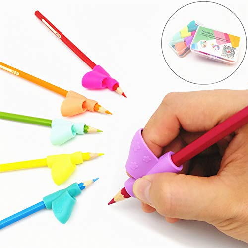 (Pencil Grip Holder Writing Aid Grip Posture Correction Training Learning Tool Colored Pen Handwriting Claw for Adult or Children or Kindergarten or Toddler or Kids 6Pcs/Set (A))