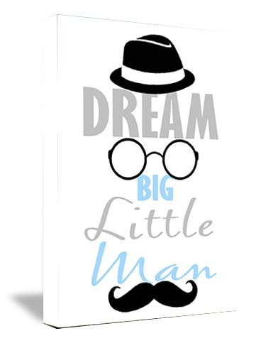 FRAMED CANVAS PRINT Dream big little man with hat, glasses, and mustache (12''width x 16'' Height) cute funny wall art