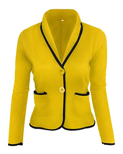 Camicia Marca Prodotto Gelb Sottile Plus Classiche Corto Tailleur Blazer Con Bavero Business Da Di Cappotto Casuale Eleganti Button Ufficio Donna Mode Lunga Moda Giacca Manica C8AwHq