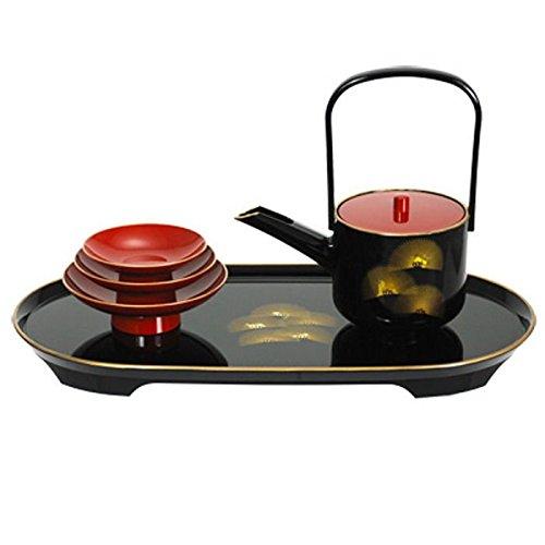 Japanese Lacquer Pine Tosoki San San Kudo Wedding Ceremony Sake Set, Made in Japan L9252