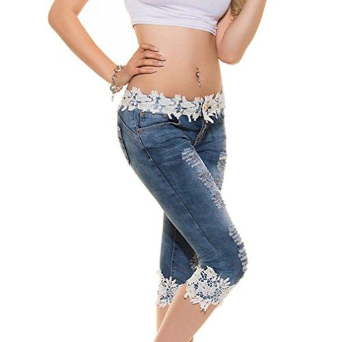 S Juleya Casuales Azul Jeans 3 Vaqueros Skinny Mezclilla 4 Mujer Rectos Pantalone Jeggings Azul con Pantalones Cintura Elástica Pantalones Baja Negro 2XL Sexy Encaje Claro Lápiz Claro de q1fnqwSC