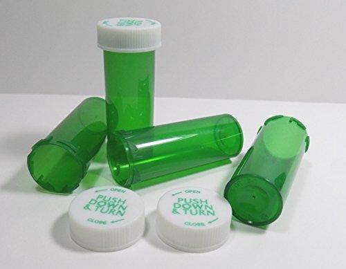 Plastic RX Vials/Bottles GREEN 25 Pack w/Caps Larger 13 Dram Size-NEW