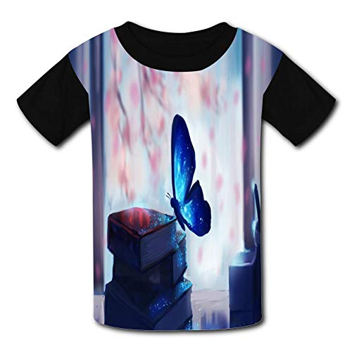 Blue Butterfly Elf Child Short Sleeve Fashion T-Shirt of Boys and Girls S