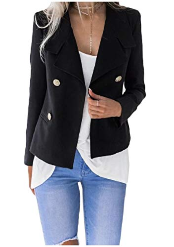 -Breasted Short Style Silm Fit Turn Down Collar Suit Jacket Black S ()
