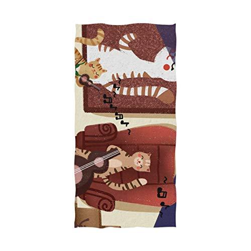 Cats Playing Pool - Mr.XZY Bath Towel Cute Animal Series Q Version Cartoon Lightweight Soft Towel Cat Playing Violin Hedgehog Dancing Pool Gym Yoga Beach Spa Towel Unisex Shower Towel for Men Women 2010209