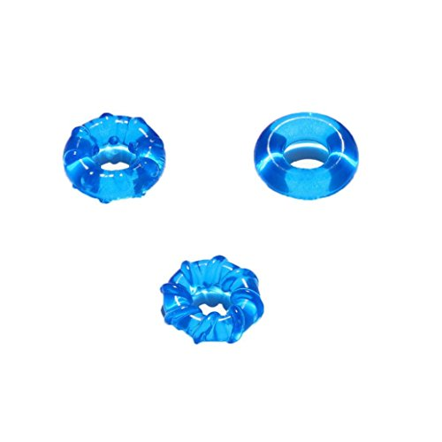 Keliay Couple Lover Sexy Play Games Ring Men Soft Silicone Time Delay Ring (Blue)