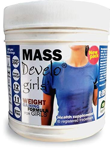 Develo Weight Mass Gainer Protein Shake Powder for Fast Gain in women girls, Nutrition Food Supplement, Health Drink… 2021 July Specially formulated for women/girls.as per RDA guidelines ICMR 2010. Extra 500 calories/day to help you gain upto one pound/week. use as directed on the label.