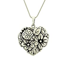 Flower Ladybug Locket 925 Sterling Silver Nature Pendant Necklace 18 Inches Chain