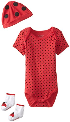 (Lovespun Baby-Girls Newborn Ladybug 3 Piece Creeper Hat and Sock Gift Box Set, Red, 6-12 Months)
