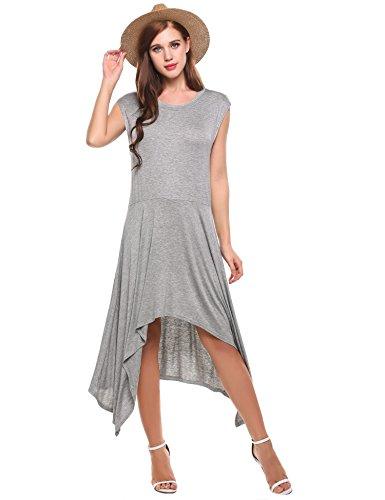 Hi Dress Long Jersey Gray Beach Party Low Dress Sleeve Swing Cap Casual Women Beyove Cq4Iw5f4