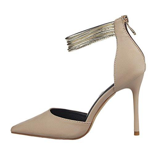 Cybling Mode Ankelbandet Spetsig Tå Klänning Pumpar För Kvinnor Stilettklackar Bröllop Skor Khaki