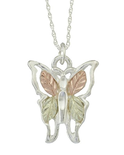 Butterfly Pendant Necklace, Sterling Silver, 12k Green and Rose Gold Black Hills Gold Motif, 18''