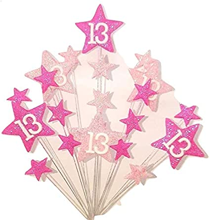 STAR AGE 13TH BIRTHDAY CAKE TOPPER IN SHADES OF PINK