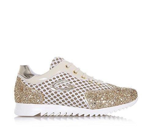 ALBERTO GUARDIANI - Goldener Schuh mit Schnürsenkeln aus Leder und Glitzern, Mädchen, Damen