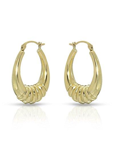 MCS Jewelry 10 Karat Yellow Gold Shrimp Hoop Earrings (Diameter: 22 mm)
