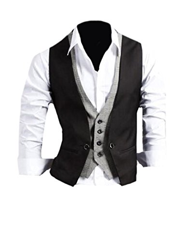 Abetteric Men Fashion Adjustable Splice Color Fake Two Layered Vest Waistcoat Black XS