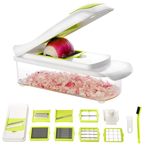 Kitchen Food Chopper Slicer Dicer Cutter: Vegetable Greater and Onion Chopper with 8 Stainless Steel Blades, 30% Heavier Duty Multi and Cheese Cutter - Food Dicer with Storage Container