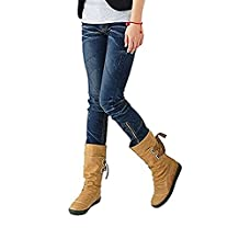 Blivener Women's Winter Back Lace Up Boot Mid Calf Snow Boots