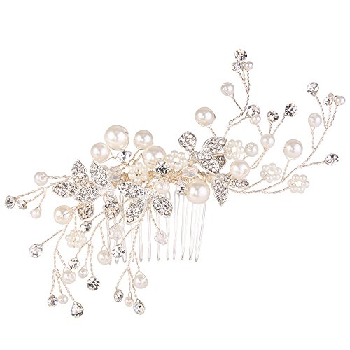 BriLove Wedding Bridal Hair Comb Hair Accessories with Ivory Color Simulated Pearl Crystal Floral DIY Handmade Bendable Filigree Bead for Women Clear Silver Tone