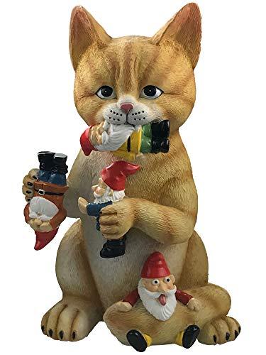 by Mark & Margot - Mischievous Cat Garden Gnome Statue Figurine - Best Art Décor for Indoor Outdoor Home Or Office (One Size, Mischievous Upside Down Gnome)