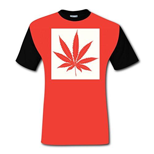 Men's Canada Flag Weed Marijuana Raglan T Shirts Short Sleeve Tee Printed Tops XL