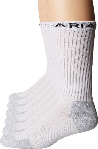 Ariat Men's Crew Cotton 6 Pack (White Socks Jeans)
