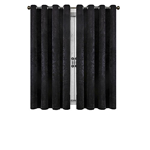 - SUO AI TEXTILE Suede Blackout Curtains Room Darkening Thermal Insulated Grommet Window Curtains 2 Panels (52x63,Black)