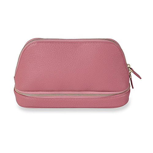 Levenger Duo Clever Leather Travel Pouch - Business Travel Case, Mauve (AL15000 MV NM)