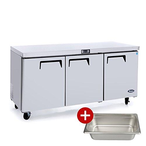 Commercial Undercounter Refrigerator,Commercial Large Beverage Cooler Fridge Center ATOSA MGF8404 3 Door Stainless Steel Horizontal Refrigerators32.8 Cu.Ft.72W30D36H - Undercounter Refrigerator Commercial