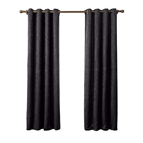 JFFFFWI The Bedroom Curtains Imitation Chenille Polyester Fabric Rod (2Pcs),135X240Cm,Green