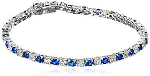 Created Blue Sapphire and White topaz Tennis Bracelet in Sterling Silver (3mm) (Topaz Tennis Bracelet)