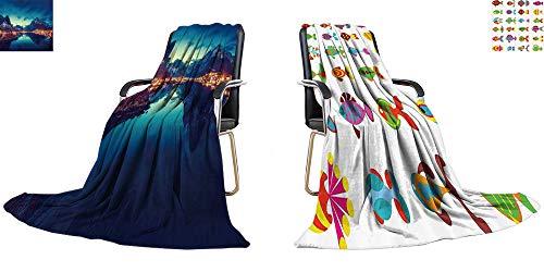 Sleeper Taggies (YOYI-home Thicken Blanket Sunset in Reine Village, Lofoten Islands, Norway Digital Printing Blanket 60