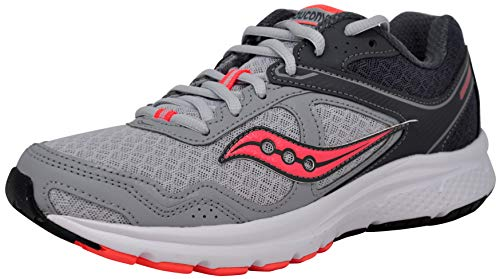 Saucony Women's Cohesion 10 Running Shoe, Grey/Peach 7.5 M US